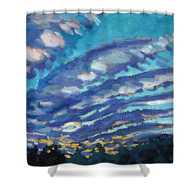 Sunrise Shower Curtain featuring the painting Gravity Storm by Phil Chadwick