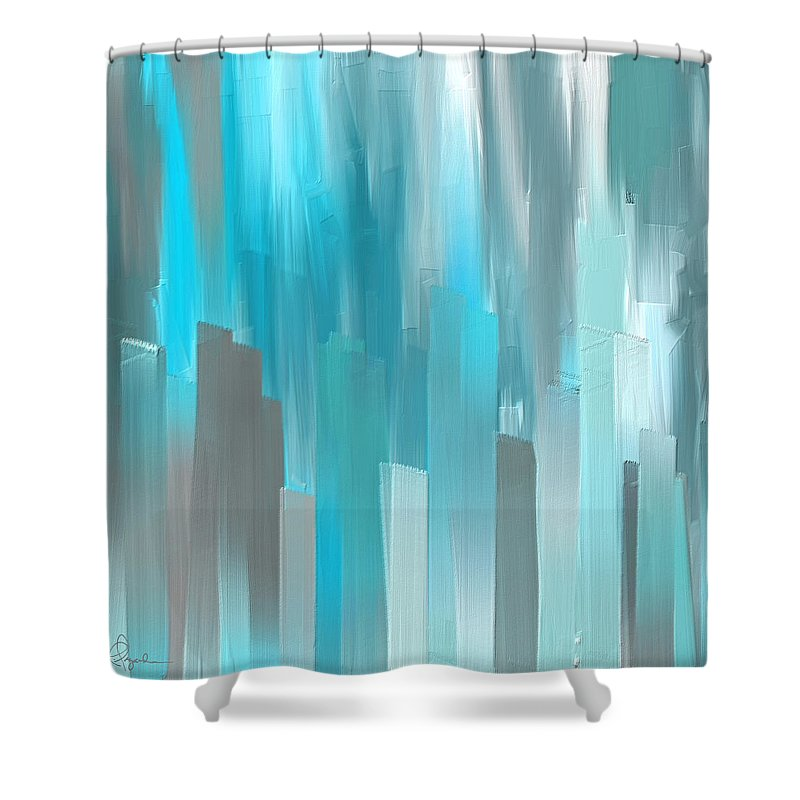 Gray And Teal Abstract Art Shower Curtain For Sale By Lourry Legarde