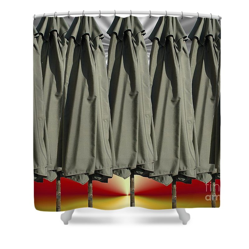 Unbrella Art Shower Curtain featuring the digital art Gray Over Red Sky by Ron Bissett