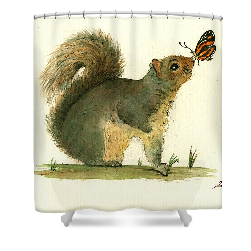 Squirrel Shower Curtain featuring the painting Gray Squirrel Butterfly by Juan Bosco