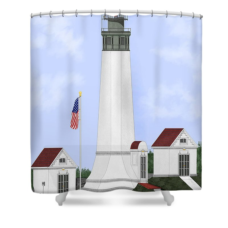 Lighthouse Shower Curtain featuring the painting Grays Harbor Light Station Historic View by Anne Norskog