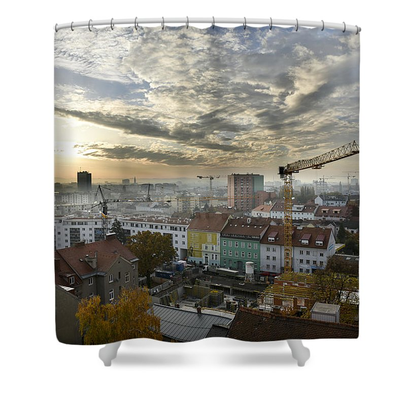 City Shower Curtain featuring the photograph Graz At Work by Gerald Kloesch