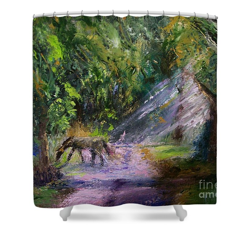 Landscape Shower Curtain featuring the painting Grazin' In The Grass by Stephen King
