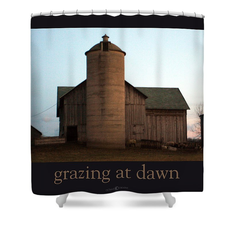 Barn Shower Curtain featuring the photograph Grazing At Dawn by Tim Nyberg