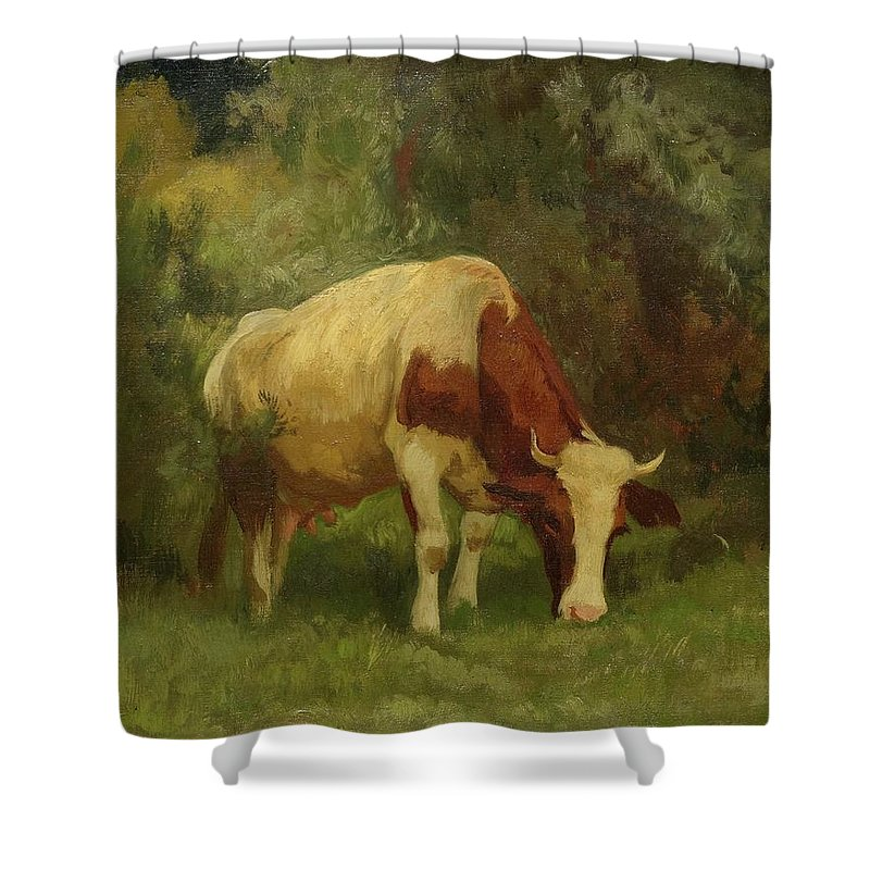 Koller Shower Curtain featuring the painting Grazing Cow by MotionAge Designs