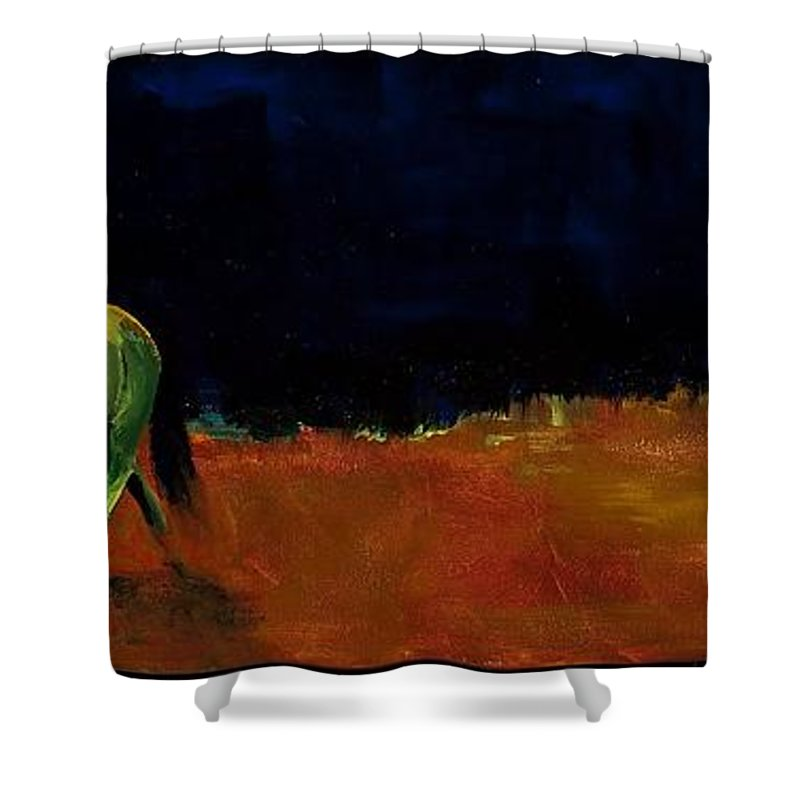 Abstract Horses Shower Curtain featuring the painting Grazing In The Moonlight by Frances Marino