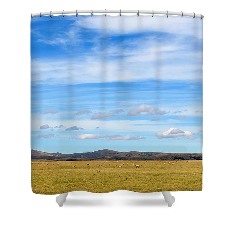 Clouds Shower Curtain featuring the photograph Grazing Sheep - Maniototo Plain by Robert Green