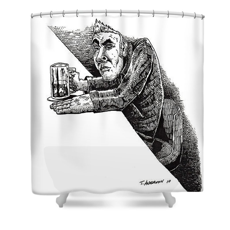 Pen And Ink Shower Curtain featuring the drawing Greaser by Tobey Anderson