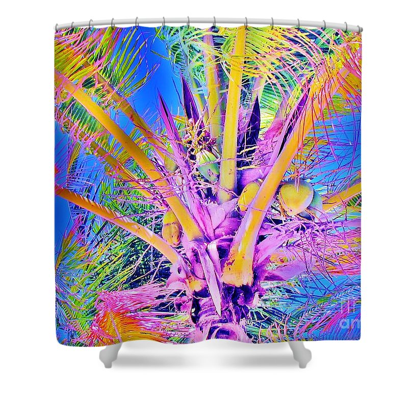 Jellee Pix Shower Curtain featuring the digital art Great Abaco Palm by Keri West