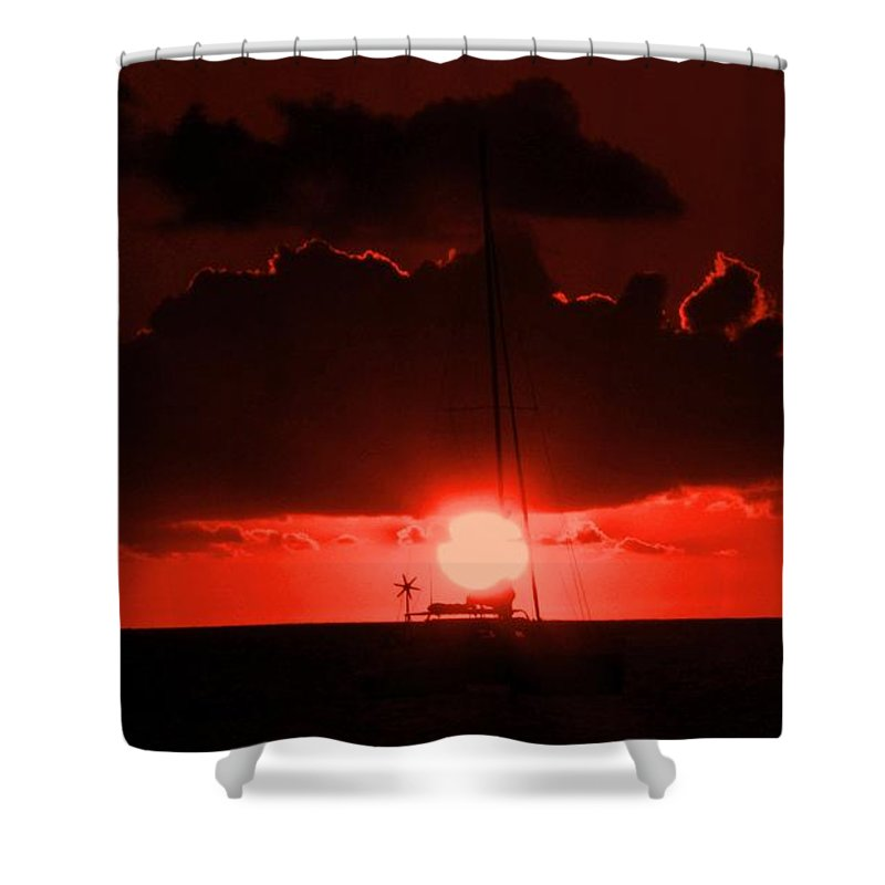 Sunset Shower Curtain featuring the photograph Great Ball Of Fire by Ian MacDonald