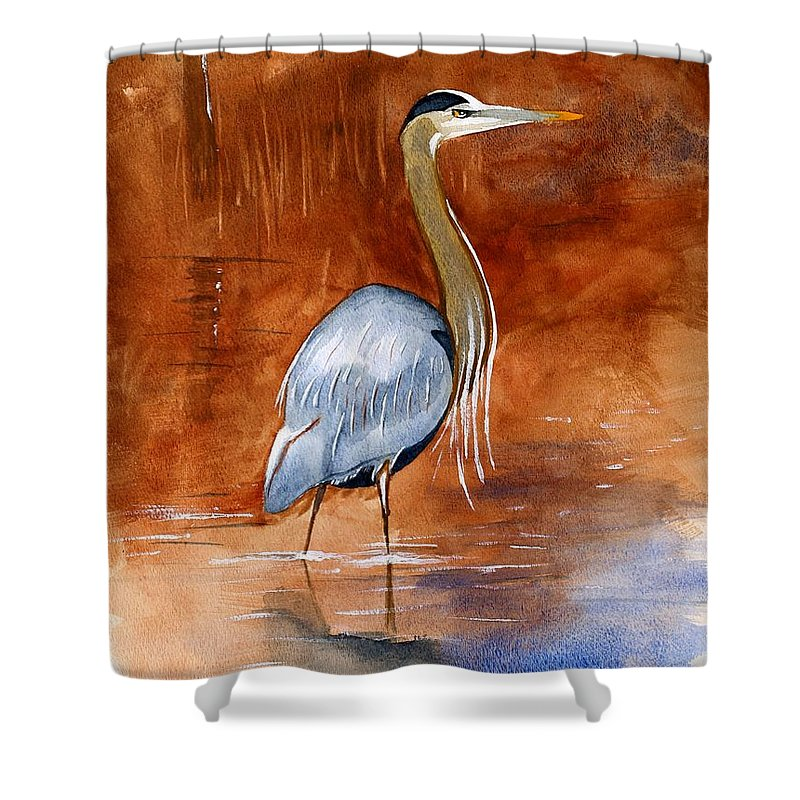 Great Shower Curtain featuring the painting Great Blue Heron by Brett Winn