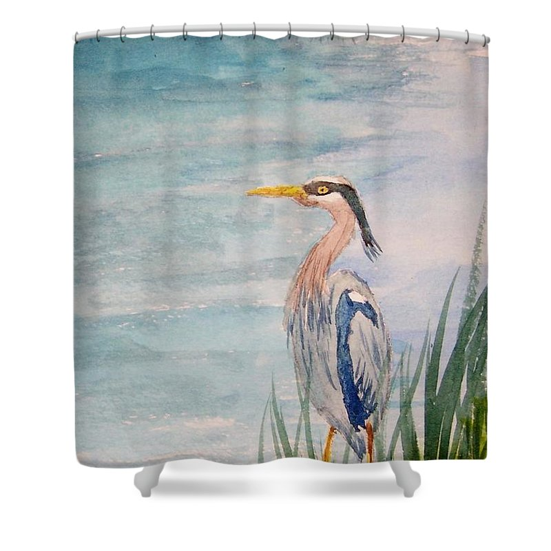 Landscape Shower Curtain featuring the painting Great Blue Heron Two by B Kathleen Fannin