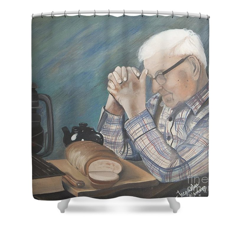Great Grandpa Shower Curtain featuring the painting Great Grandpa by Jacqueline Athmann