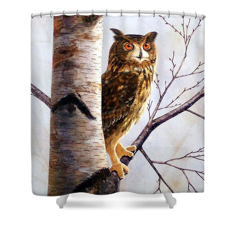 Great Horned Owl In Birch Shower Curtain featuring the painting Great Horned Owl In Birch by Frank Wilson