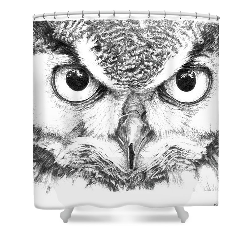 Owl Shower Curtain featuring the drawing Great Horned Owl by Yana Wolanski