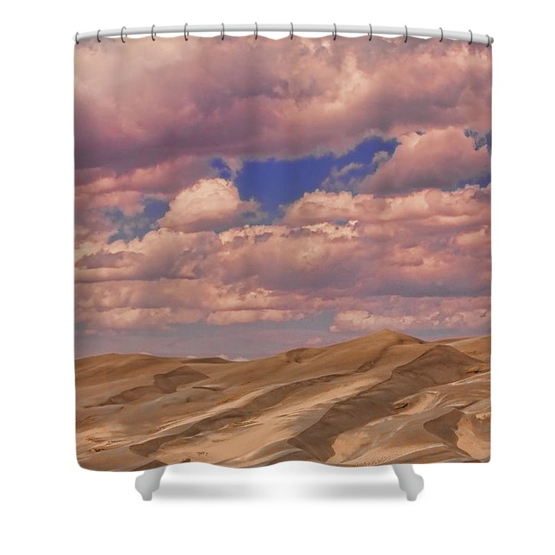 the Great Colorado Sand Dunes Shower Curtain featuring the photograph Great Sand Dunes And Great Clouds by James BO Insogna