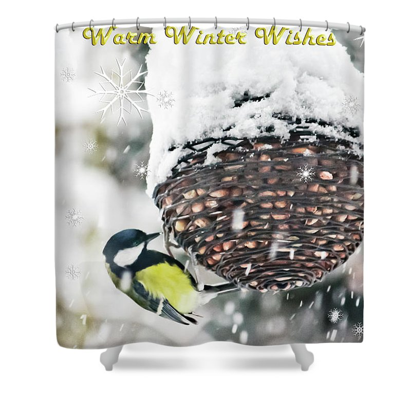 Bird Shower Curtain featuring the photograph Great Tit In The Snow Card by Terri Waters