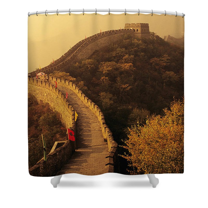 Afar Shower Curtain featuring the photograph Great Wall In The Mist by Gloria & Richard Maschmeyer - Printscapes