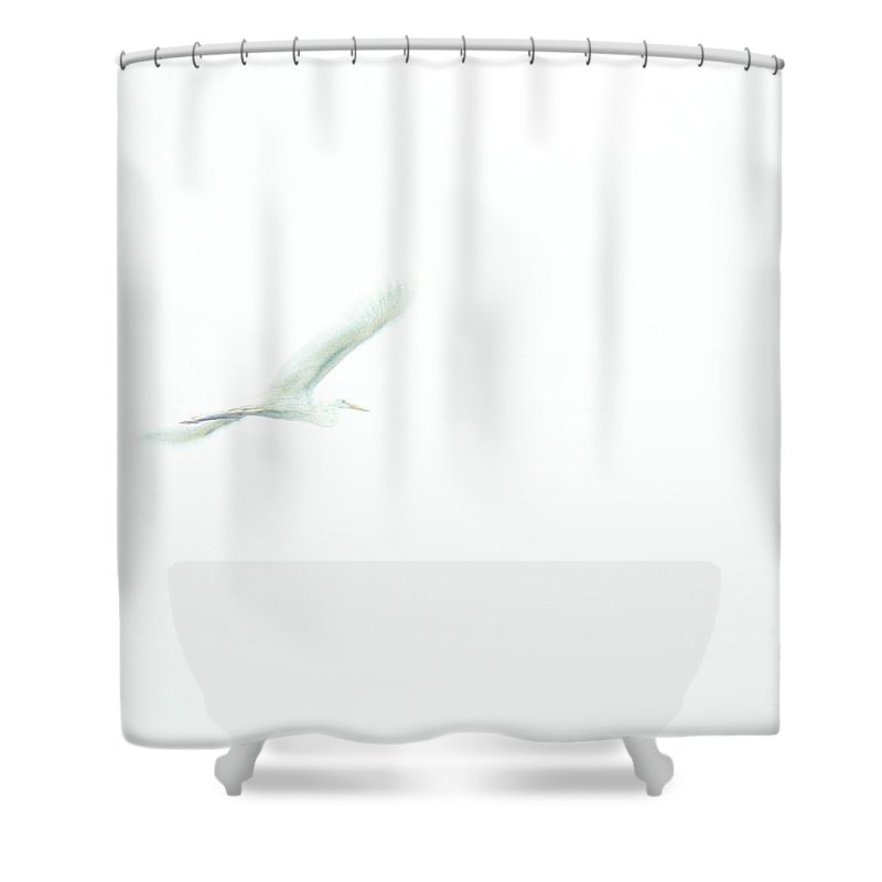 Great White Egret Shower Curtain featuring the photograph Great White Egret Impressionistic Style by John Harmon