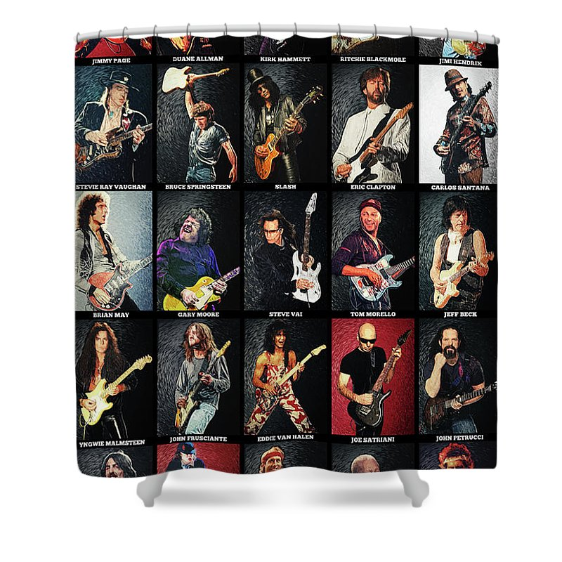 Guitar Shower Curtain featuring the digital art Greatest Guitarists Of All Time by Zapista OU