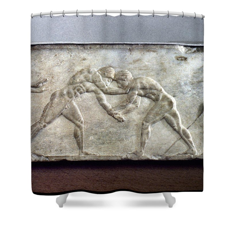 Ancient Shower Curtain featuring the photograph Greece: Wrestlers by Granger