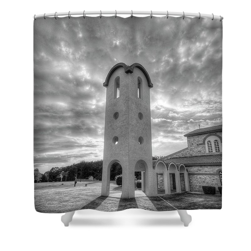Greek Shower Curtain featuring the photograph Greek Bell Tower by Brian Fisher