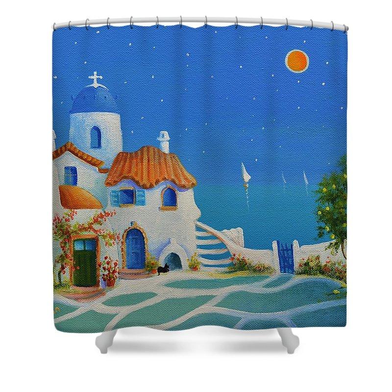 Greek Blue Shower Curtain featuring the painting Greek Blue Santorini A Greek Fairytale by Ray Gilronan