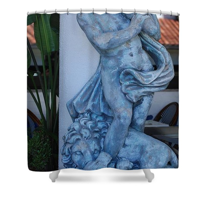 Statue Shower Curtain featuring the photograph Greek Dude And Lion In Blue by Rob Hans
