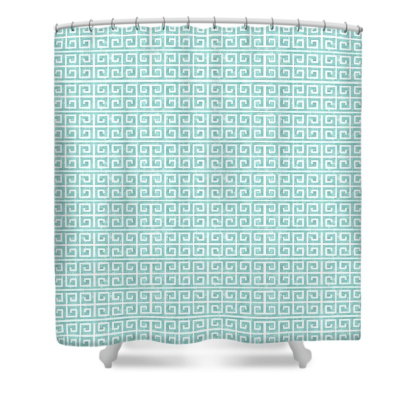 Greek Shower Curtain featuring the painting Greek Key Watercolor Pattern Beach Ocean Home Decor by Audrey Jeanne Roberts