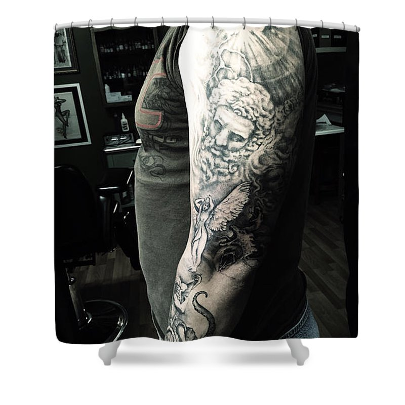 Greek Shower Curtain Featuring The Photograph Mythology Tattoo By Cynthia Hart