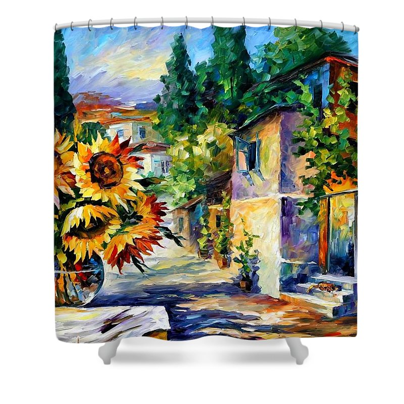 Afremov Shower Curtain featuring the painting Greek Noon by Leonid Afremov