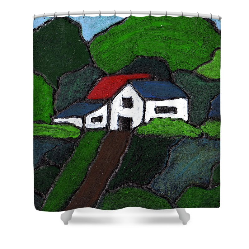 Rural Shower Curtain featuring the painting Green Acres by Wayne Potrafka