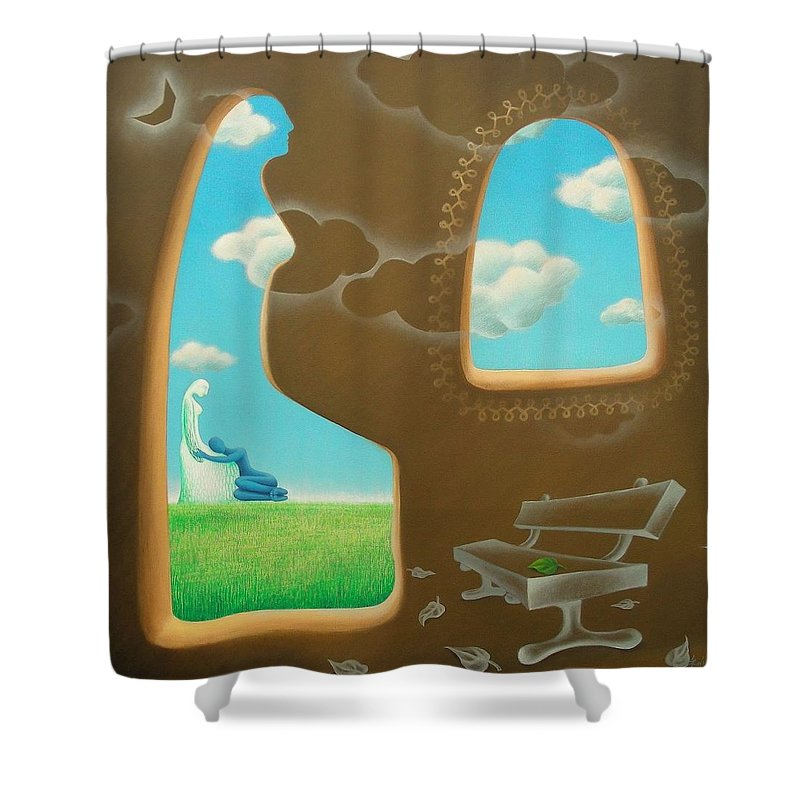 Romantic Shower Curtain featuring the painting Green And Blue by Raju Bose
