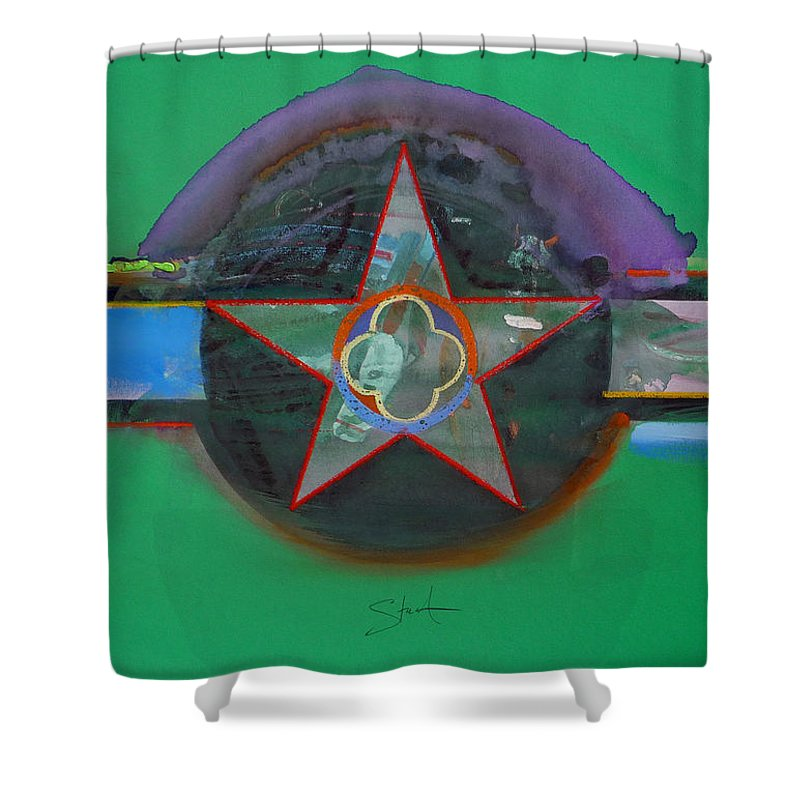 Star Shower Curtain featuring the painting Green And Violet by Charles Stuart