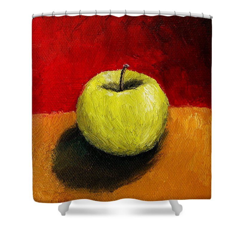 Apple Shower Curtain featuring the painting Green Apple With Red And Gold by Michelle Calkins