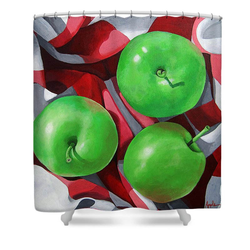Apples Shower Curtain featuring the painting Green Apples still life painting by Linda Apple