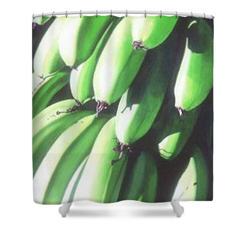 Hyperrealism Shower Curtain featuring the painting Green Bananas I by Michael Earney