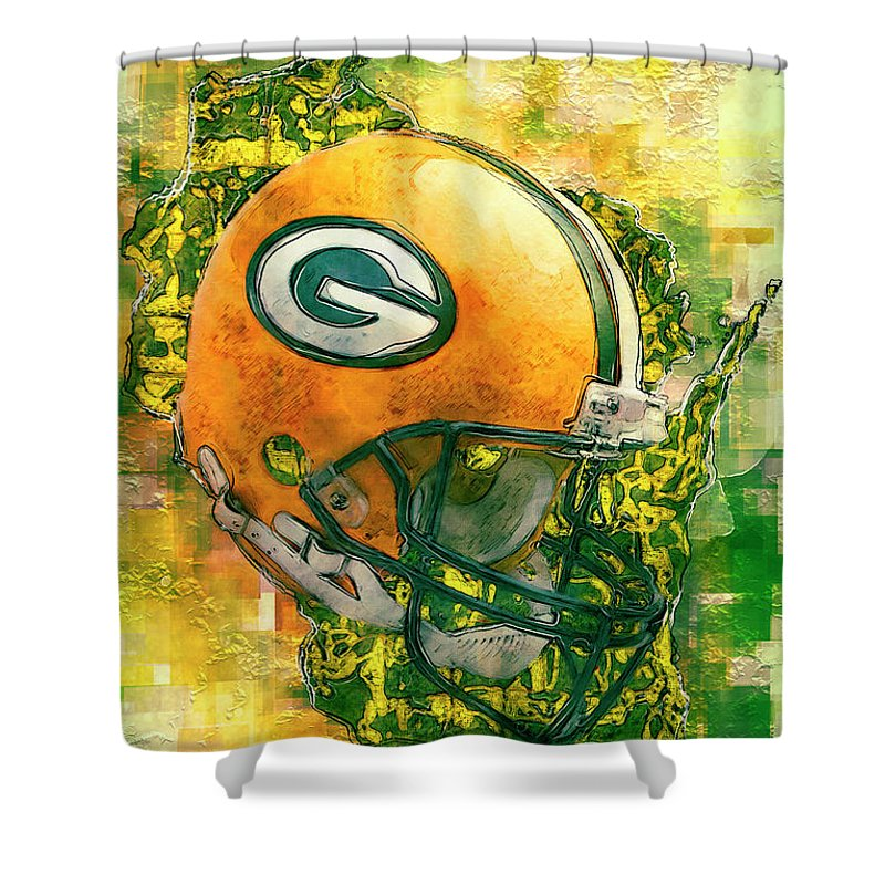 Green Shower Curtain Featuring The Painting Bay Packers By Jack Zulli