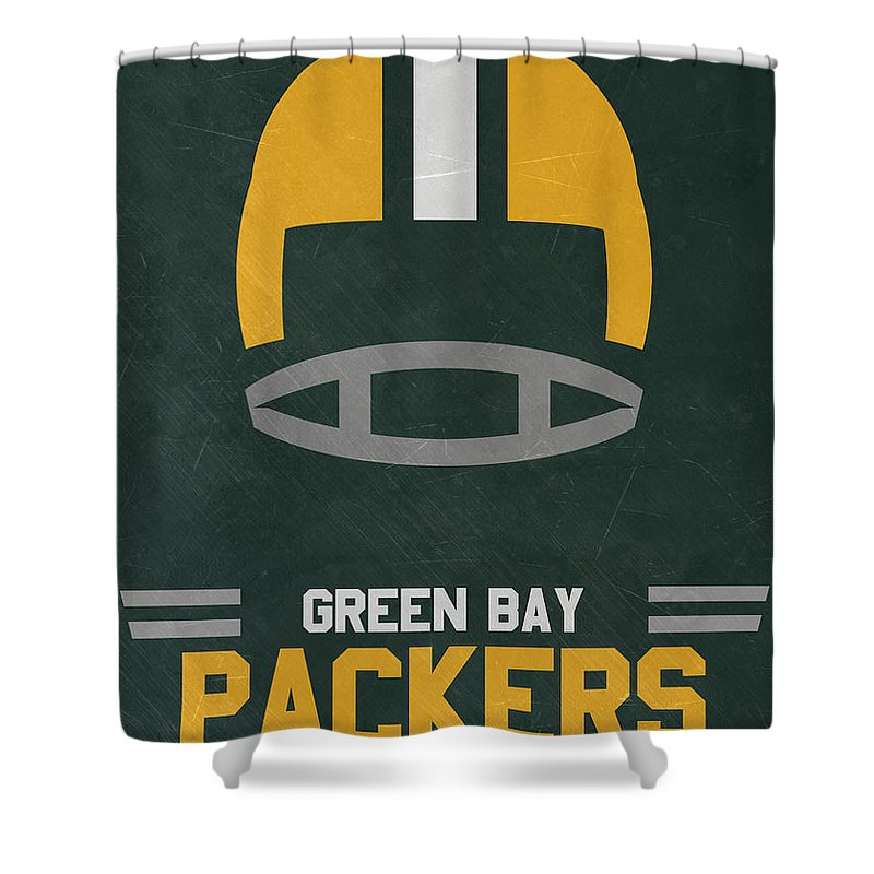 Packers Shower Curtain Featuring The Mixed Media Green Bay Vintage Art By Joe Hamilton