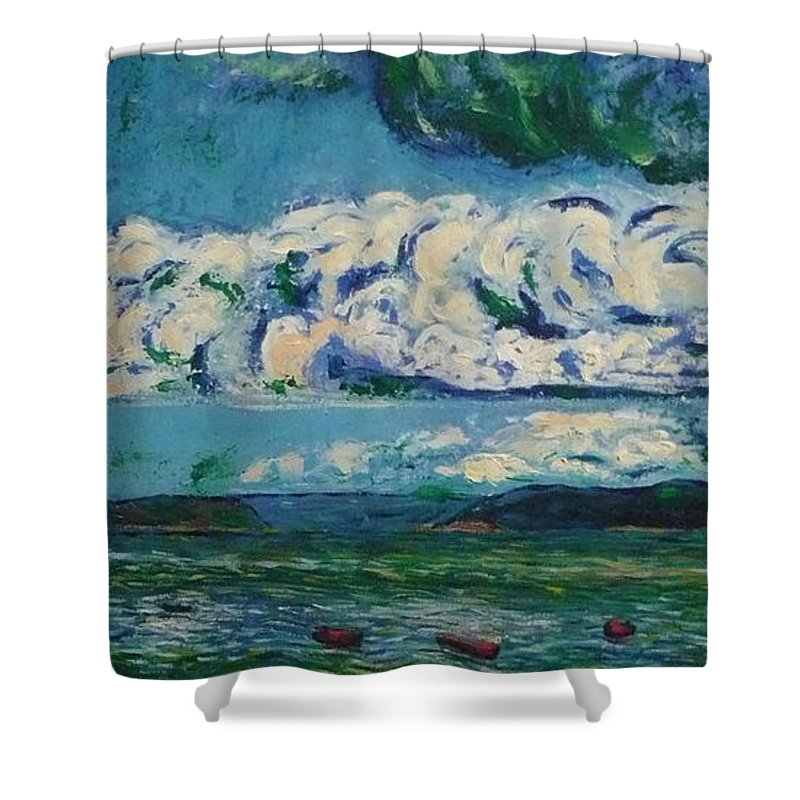 Landscape Shower Curtain featuring the painting Green Beach by Ericka Herazo