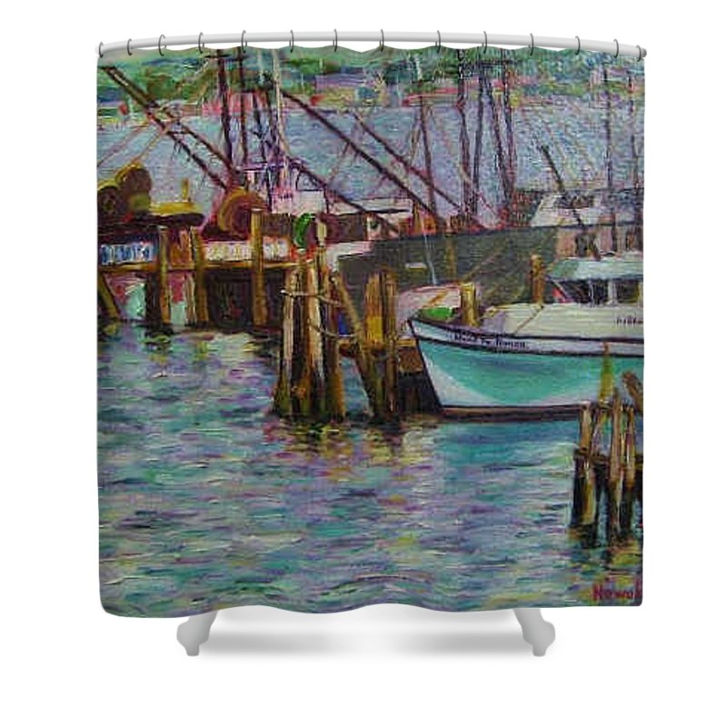 Boat Shower Curtain featuring the painting Green Boat At Rest- Nova Scotia by Richard Nowak