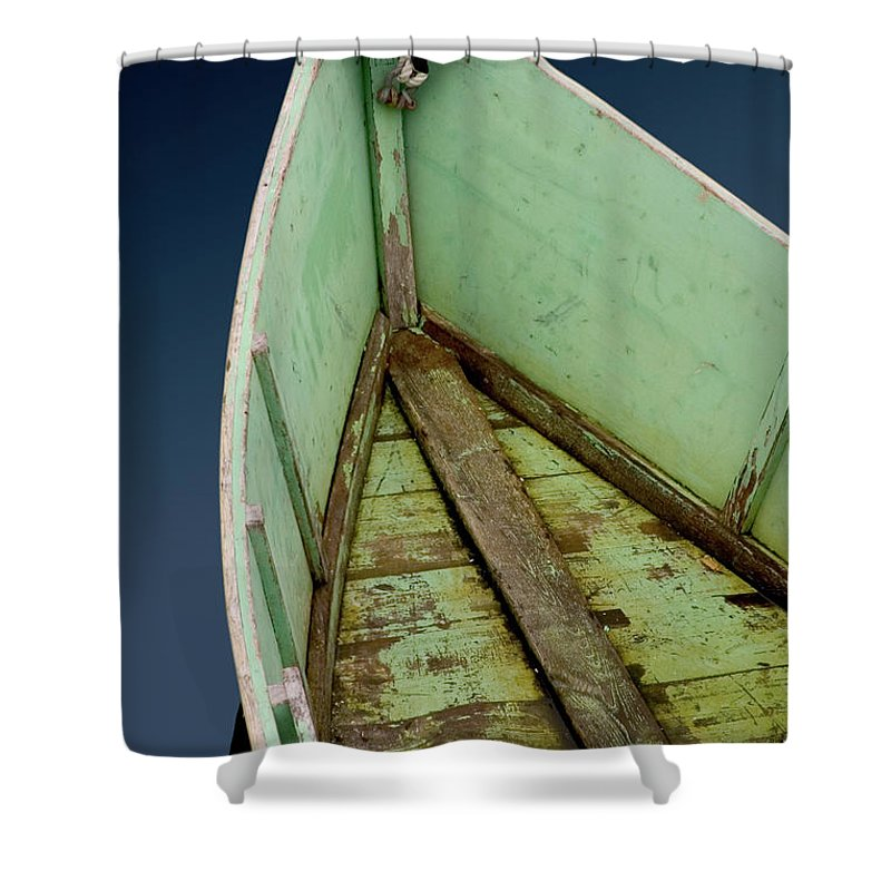 Boat Shower Curtain featuring the photograph Green Boat by Brent L Ander