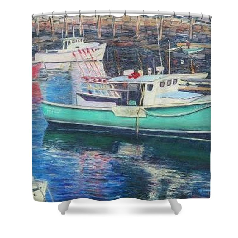 Water Shower Curtain featuring the painting Green Boat Reflections by Richard Nowak