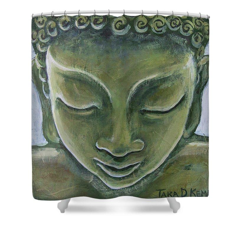 Tara Shower Curtain featuring the painting Jade Buddha by Tara D Kemp