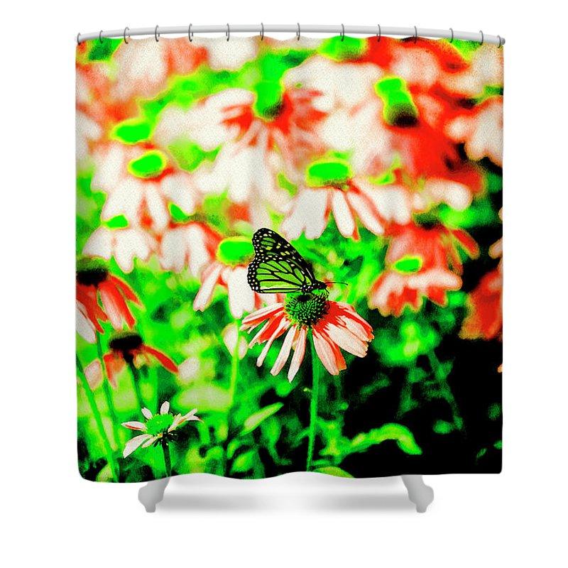 Butterfly Shower Curtain featuring the digital art Green Butterfly by David Stasiak