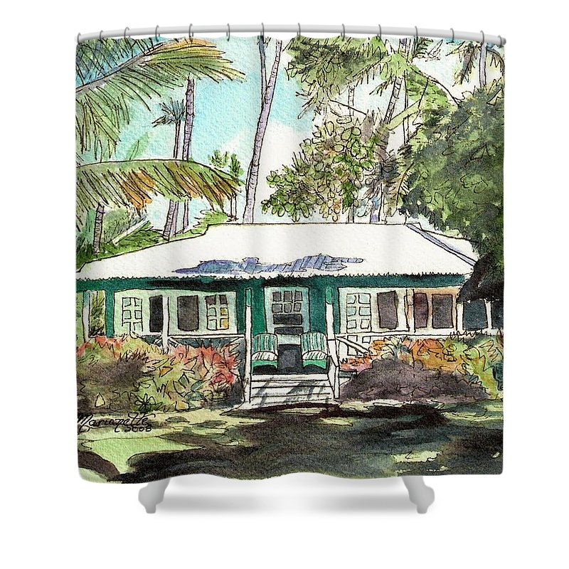 Cottage Shower Curtain featuring the painting Green Cottage by Marionette Taboniar