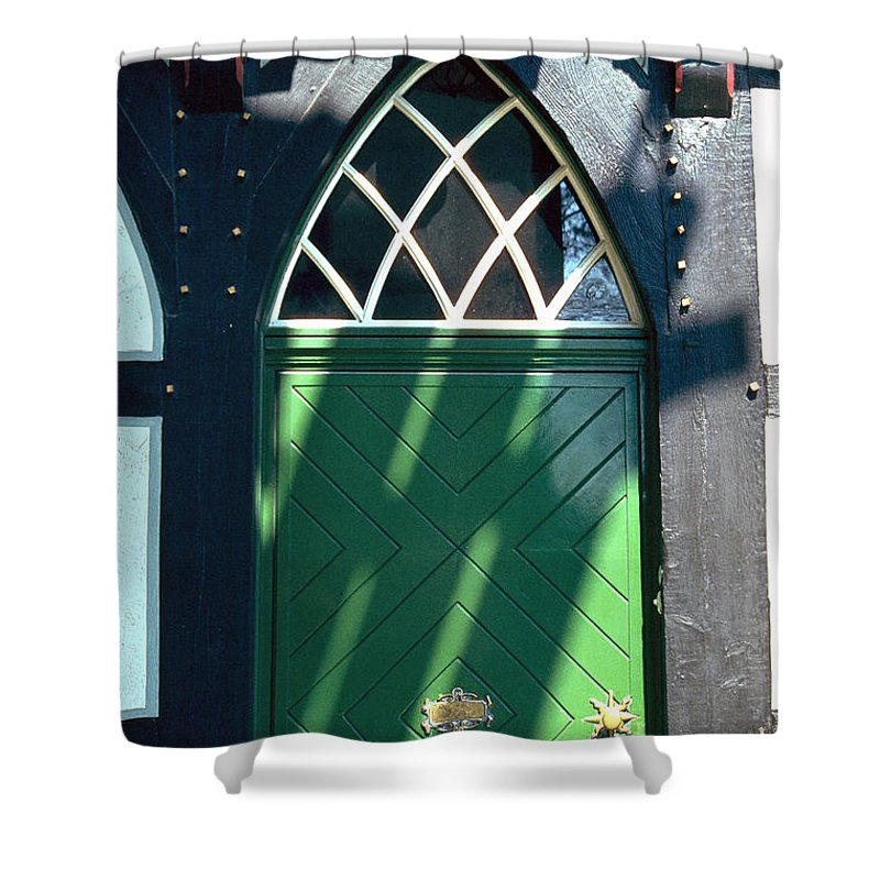 Green Shower Curtain featuring the photograph Green Door by Flavia Westerwelle