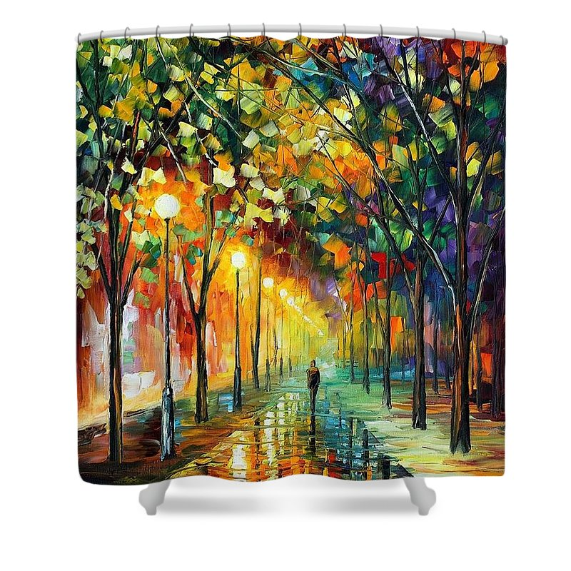 Afremov Shower Curtain featuring the painting Green Dreams by Leonid Afremov
