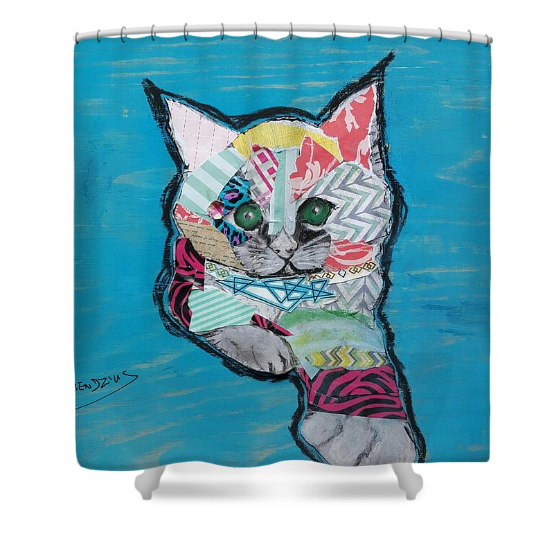 Kitty Cat Art Shower Curtain featuring the mixed media Green Eyed Love Bug by Theresa Bendzius