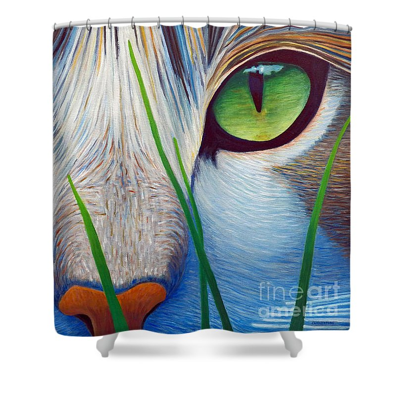 Cat Shower Curtain featuring the painting Green Eyes by Brian Commerford